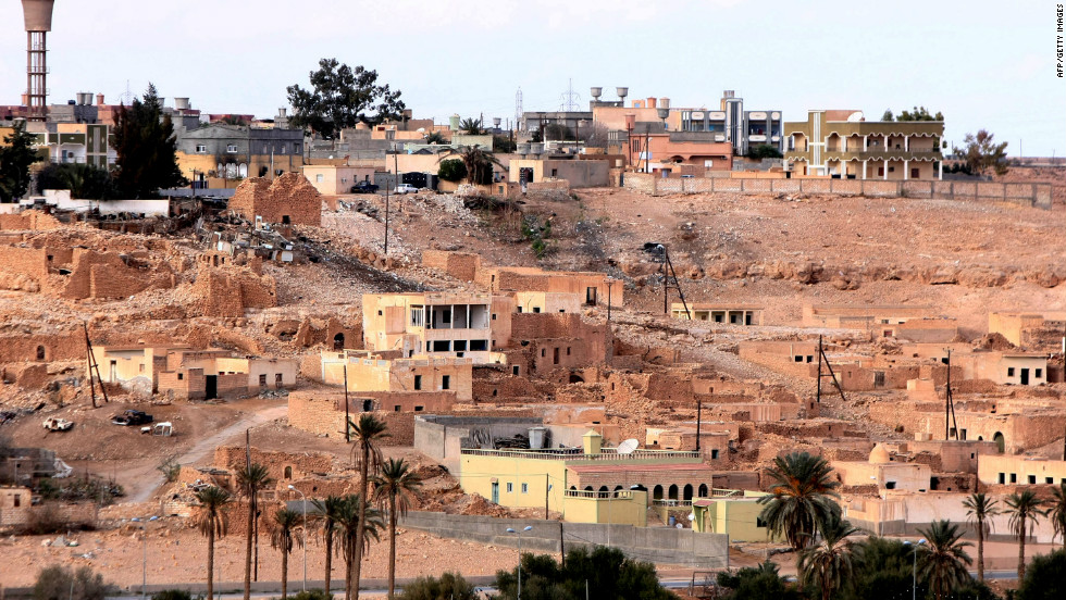 A file image of Bani Walid from January 26, 2012. The Libyan oasis town was a long standing bastion of Gadhafi's regime.