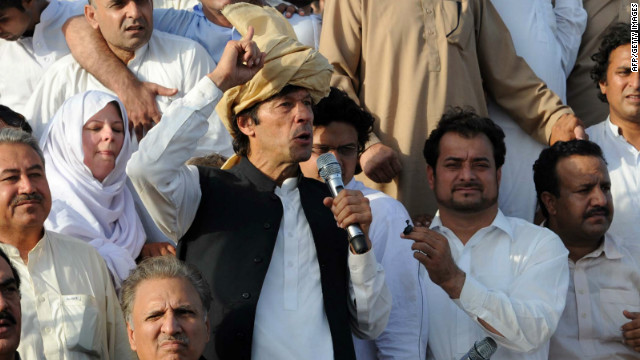 Imran Khan speaks at a Pakistan peace rally on October 7.