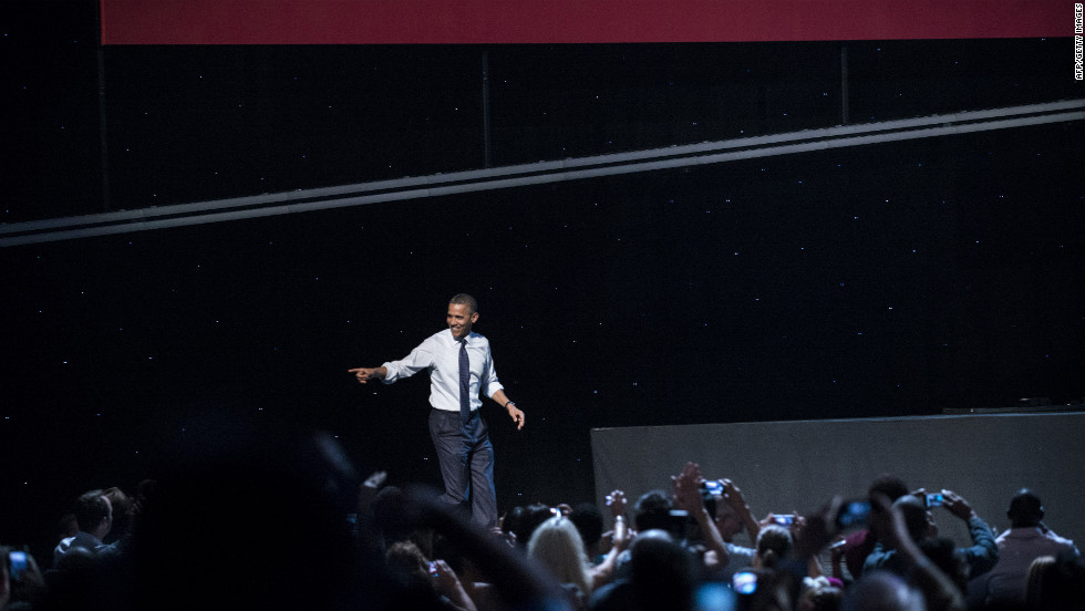 Obama takes the stage at a campaign concert at the Nokia Theatre in Los Angeles on Sunday, October 7. The president has been on a three-day trip to California and Ohio.