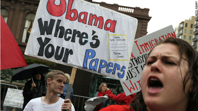 Members of the tea party movement demonstrate against President Obama in San Francisco.