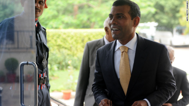 Police in the Maldives arrested the former president Mohamed Nasheed (pictured) on Monday.