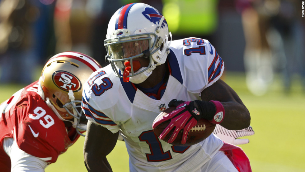 Steve Johnson of the Buffalo Bills is tackled Sunday by Aldon Smith of the San Francisco 49ers.
