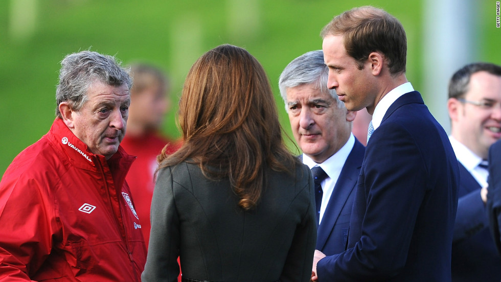 William and Kate spoke with England manager Roy Hodgson ahead of his team's 2014 World Cup qualifiers against San Marino and Poland.