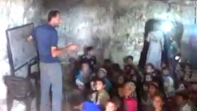 A recently posted YouTube video shows a group of Syrian children -- first- through fourth-graders -- learning in a cave.