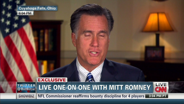 Mitt Romney speaks with Wolf Blitzer