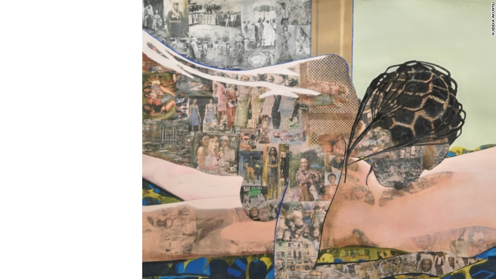 Many of Akunyili's works show intimate scenes between a black woman and a white man, showing how her native culture meets her life in America.