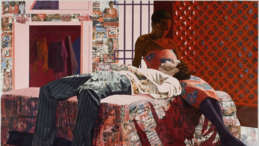 """The title is from a Nigerian song that was very popular when I was growing up,"" said Akunyili. ""Images of the record cover are transferred into the piece. ""I was listening to a lot of old school Nigerian music before I made this piece and also talking with some Nigerians about the nostalgia evoked by these songs."""