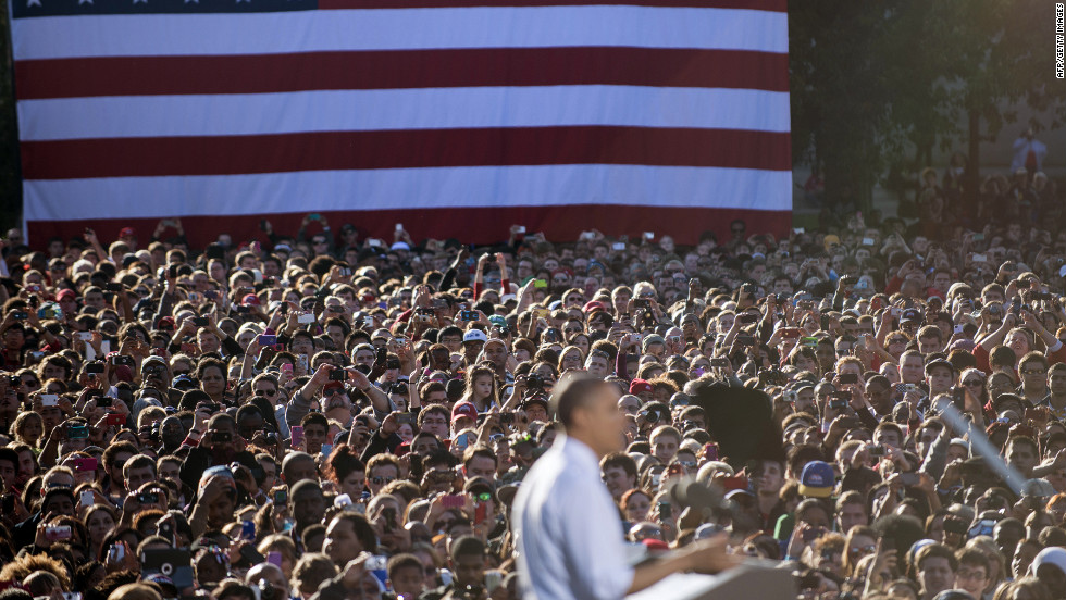 Obama addresses supporters during a campaign event at The Ohio State University on Tuesday.