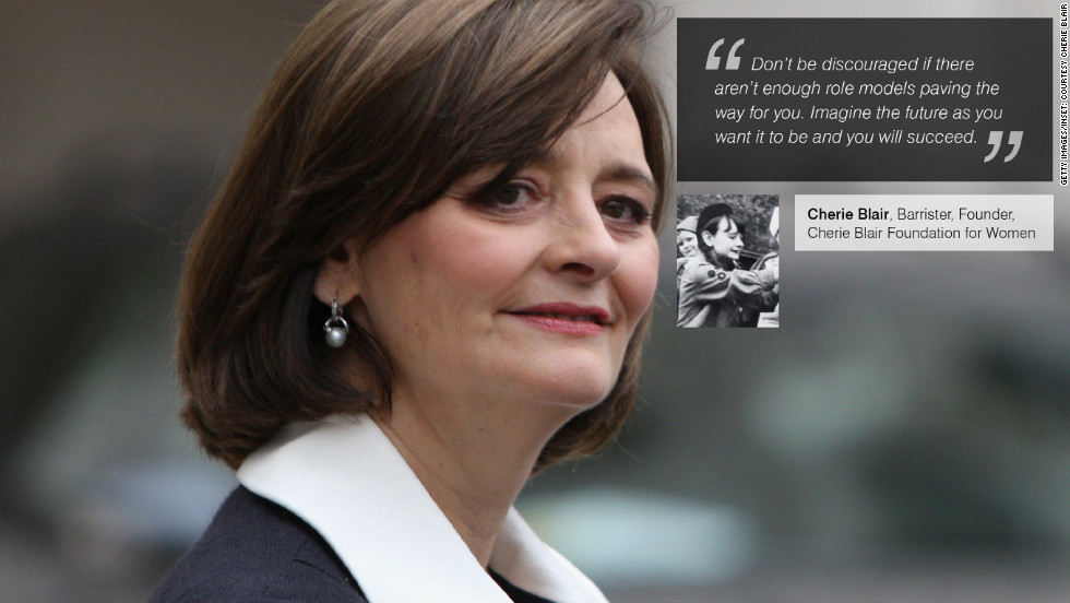 "<a href=""https://twitter.com/CherieBlairFndn"" target=""_blank""><strong>Cherie Blair</a></strong> is a British barrister specializing in public law, human rights, employment and European Community law, arbitration and mediation. She is also the founder of the Cherie Blair Foundation for Women and is married to former British Prime Minister, Tony Blair. Inset: Blair, aged 14, as a girl guide."