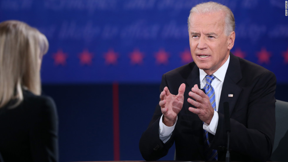Vice President Joe Biden speaks during the vice presidential debate as moderator Martha Raddatz looks on.