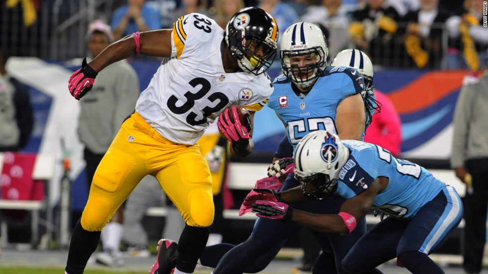 "No. 33 running back Isaac Redman of the Steelers rushes upfield against the Titans on Thursday. <a href=""http://www.cnn.com/2012/10/04/football/gallery/nfl-week-5/index.html""><strong>Look back at the best from Week Five of the NFL.</a></strong>"