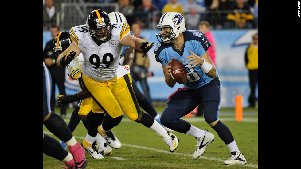 Defensive End Brett Keisel, No. 99 of the Pittsburgh Steelers, pressures Titans quarterback Matt Hasselbeck.