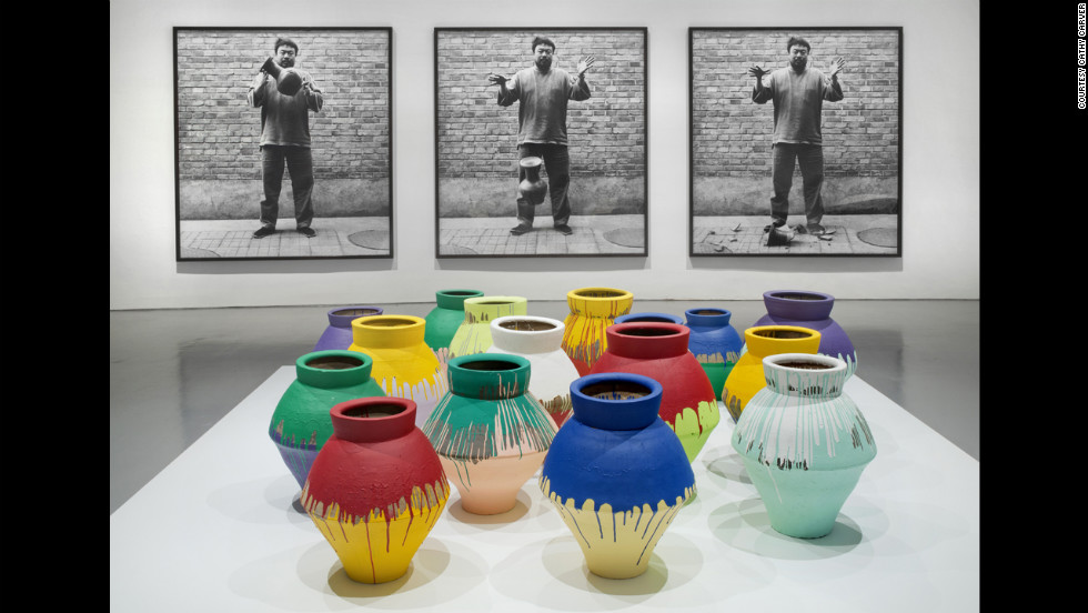 """Dropping a Han Dynasty Urn"" (1995/2009), top, is a photographic triptych that confronts the power of ancient symbols, according to the museum, while ""Colored Vases"" (2007-2010) seeks to replace those symbols with new works."