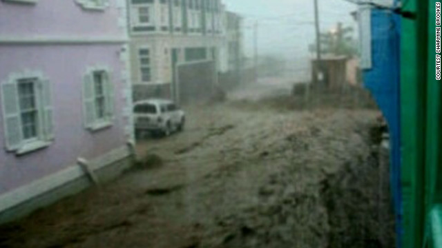 College Street, which  runs through the middle of Basseterre, St. Kitts, is filled with floodwaters.