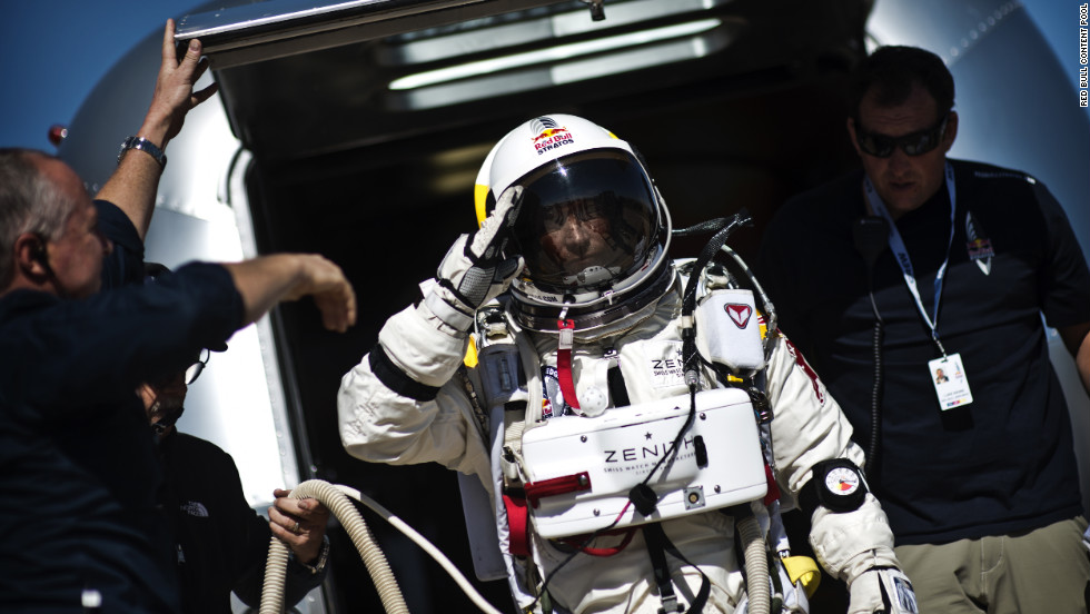Baumgartner leaves his capsule after the mission was aborted on Tuesday.