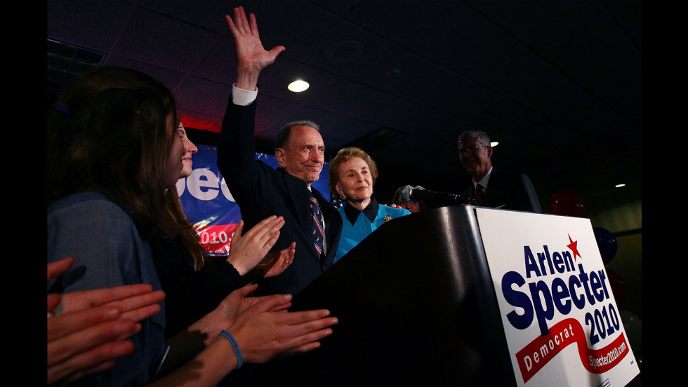 Specter, with his wife, Joan, waves goodbye after conceding defeat at a primary night gathering of supporters and staff with in May 2009 in Philadelphia.