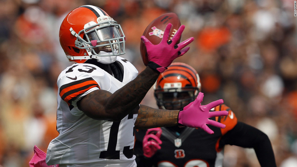 Josh Gordon of the Cleveland Browns catches a touchdown pass in front of Reggie Nelson of the Cincinnati Bengals on Sunday at Cleveland Browns Stadium in Ohio.