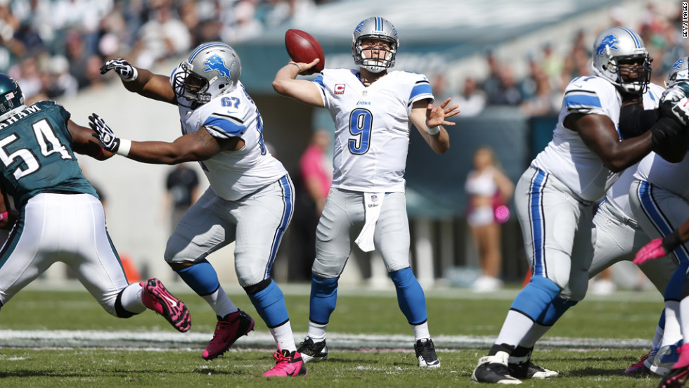 Detroit Lions quarterback Matthew Stafford throws a pass against the Philadelphia Eagles.
