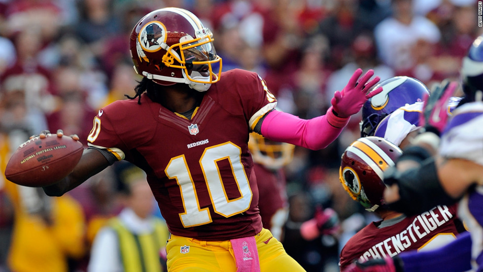 Robert Griffin III of the Washington Redskins throws a pass during Sunday's game against the Minnesota Vikings.