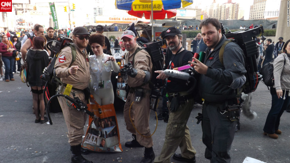 "Who ya gonna call? No group of heroes fits in better on the streets of  New York City than the Ghostbusters, from the 1984 film of the same name (and shot in New York). Ghostbusters are a popular costume choice, but it's rare to find the evil Gozer the Gozerian with them.<a href=""http://ireport.cnn.com/docs/DOC-857838"" target=""_blank"">See more photos on Diane Abela's iReport</a>."