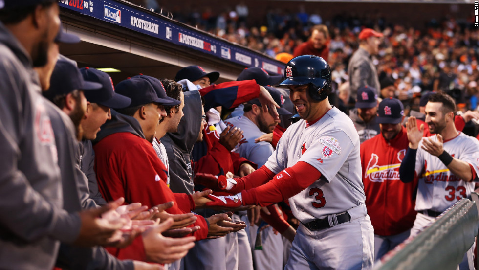 Carlos Beltran of the St. Louis Cardinals celebrates his two-run home run in the fourth inning Sunday.