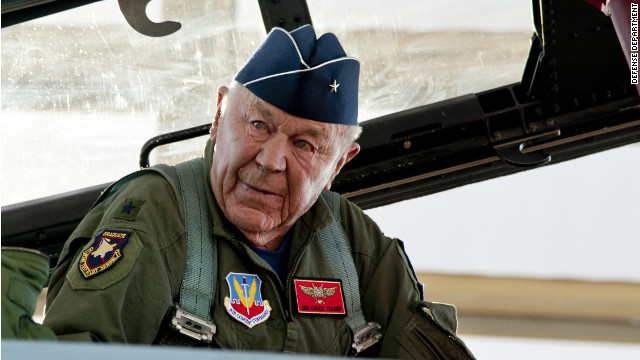 Chuck Yeager gets into the back seat of a F-15 Sunday prior to reenacting his famous flight 65 years earlier in which he broke the sound barrier.
