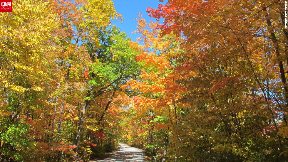 "Cindy Schultz took her convertible on this <a href=""http://ireport.cnn.com/docs/DOC-852131"">Kettle Moraine, Wisconsin</a>, road, hoping to see some fall color. She wasn't disappointed!"
