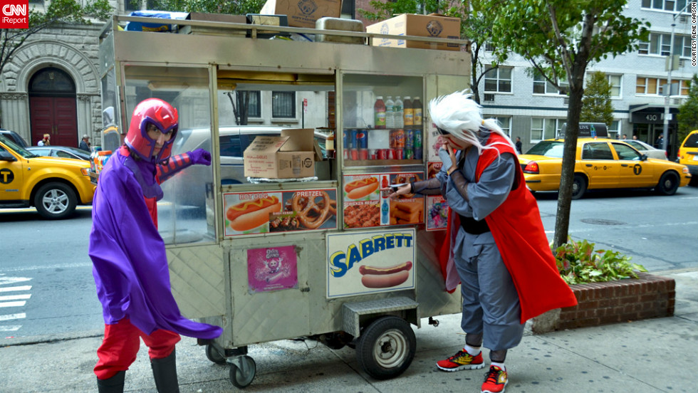 "It's not every day you see Magneto, sworn enemy of the ""X-Men,"" taking a break for a New York hot dog.<a href=""http://ireport.cnn.com/docs/DOC-858246"" target=""_blank"">See all of Rene Carson's photos on her iReport</a>."