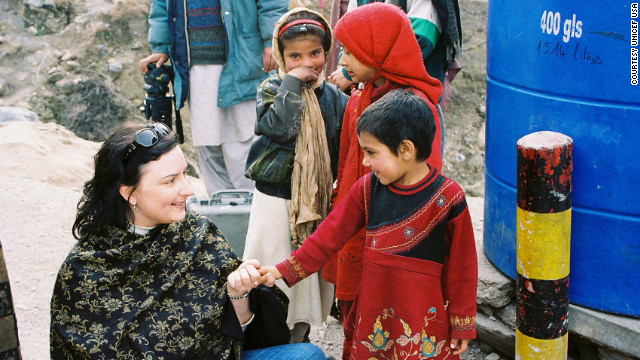 Lisa Szarkowski visits Balakot, Pakistan, with UNICEF after the town was devastated by a massive earthquake in 2005.