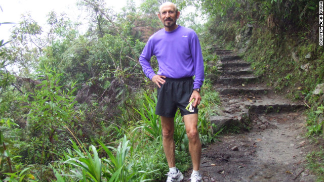 John Farah tackled the Inca Trail to Machu Picchu in Peru in 2005.