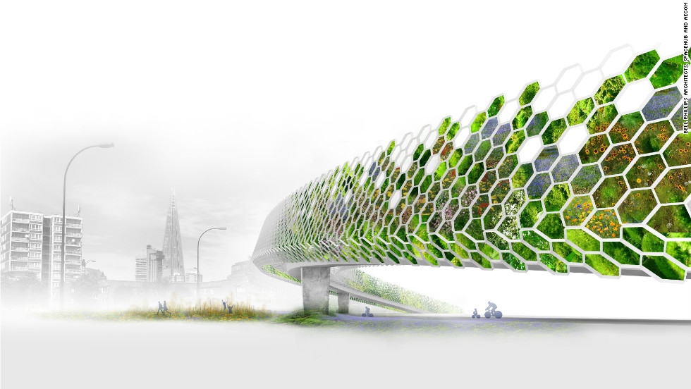 """Transforming London's many flyovers into """"green arteries"""" would not only improve the look of some of some eyesores but also reduce traffic noise and encourage biodiveristy, according to Bell Phillips, Spacehub and Aecom."""