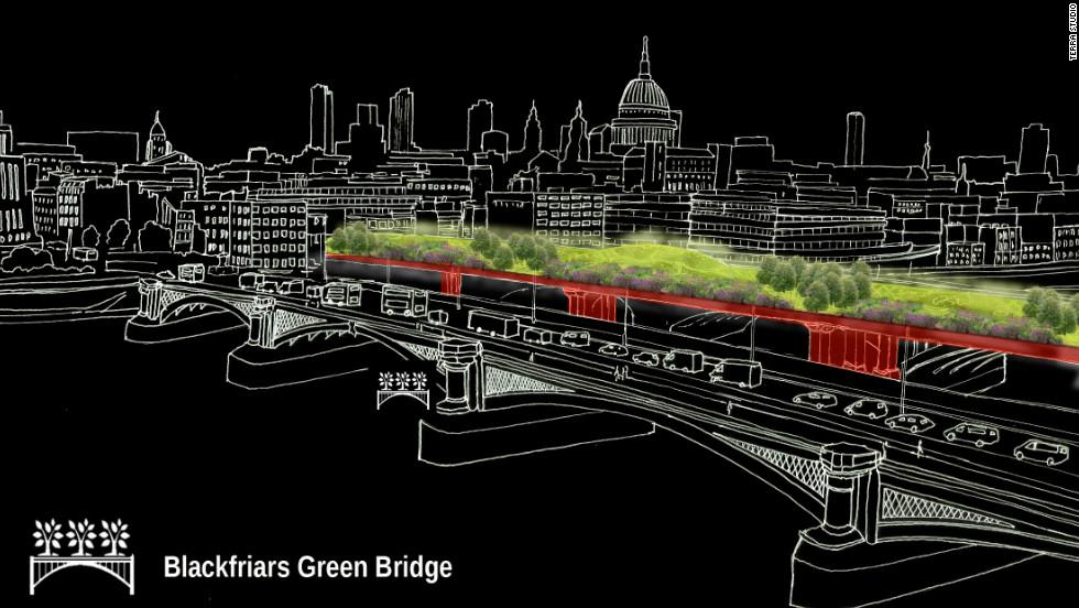 "Terra Studio's idea is to create four green infrastructure schemes including a ""green bridge"" on London's Blackfriars Bridge."