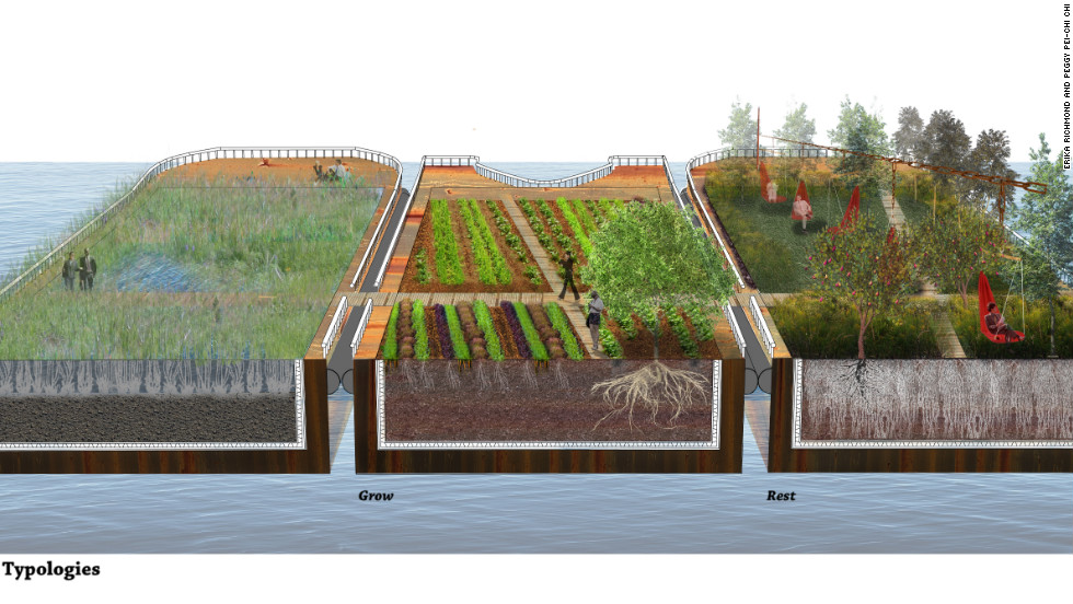 This idea to create a network of floating barges of wetland, farm and park near Canary Wharf was highly commended by the judges. The competition was organized by the UK's Landscape Institute in partnership with the Mayor of London and the Garden Museum based in south London.