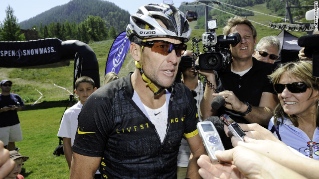 Lance Armstrong finishes the Power of Four Mountain Bike Race in Aspen, Colorado, on August 25.