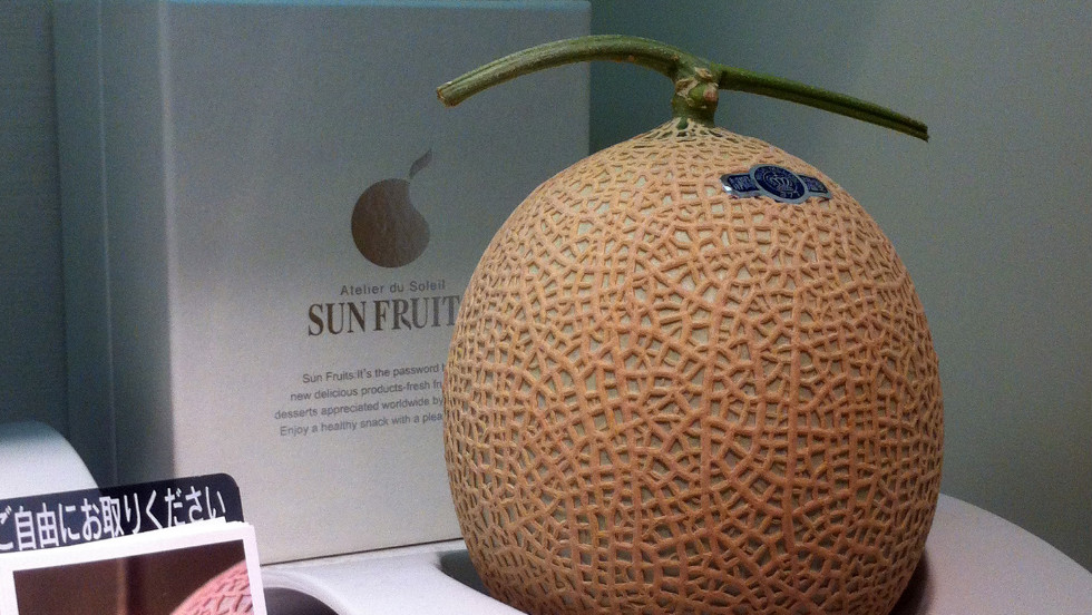 Purity and simplicity are highly valued. This beautifully packaged gift melon is priced at 10,500 yen (more than $130).