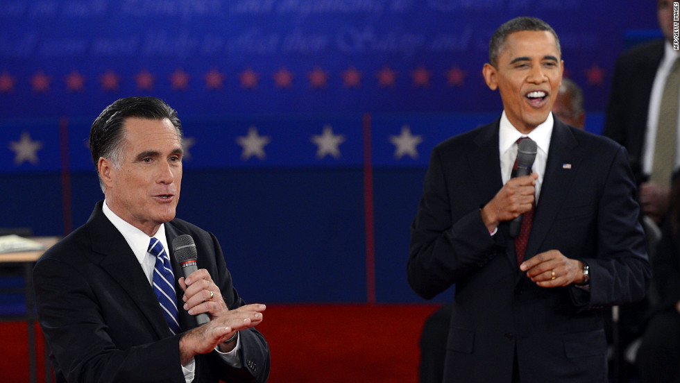 Republican presidential nominee Mitt Romney and U.S. President Barack Obama debate.