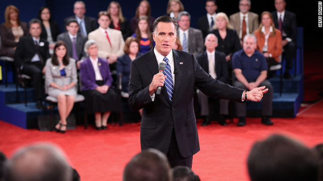 Mitt Romney speaks to the audience during Tuesday night's town hall presidential debate.