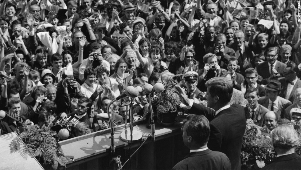 "U.S. presidents have a long history of coming to Berlin. John F. Kennedy gave his famous ""Ich bin ein Berliner"" in front of a roaring crowd in West Berlin during a 1963 visit."