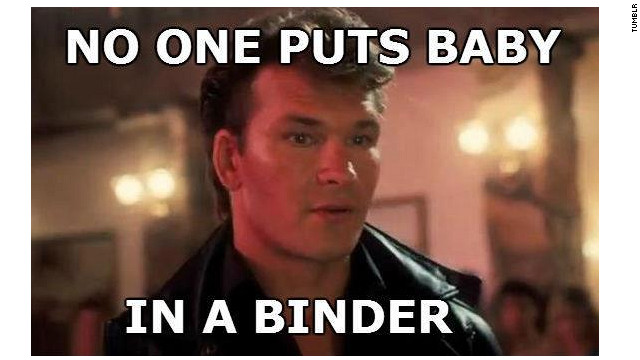 "Web comics put a new spin on a classic line from ""Dirty Dancing"" in one of many parodies of Mitt Romney's ""binders"" quote."