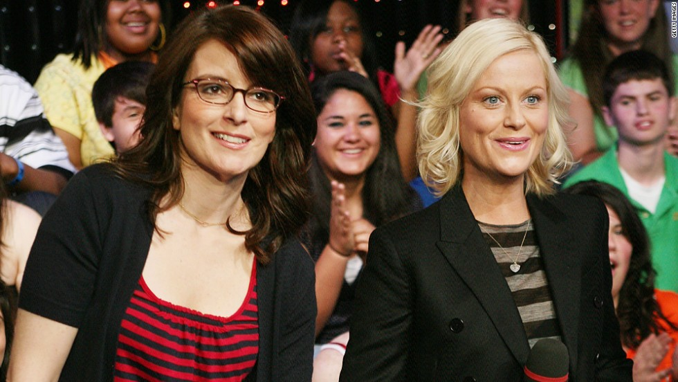 "Fey and Poehler stop by MTV's ""Total Request Live"" in April 2008."