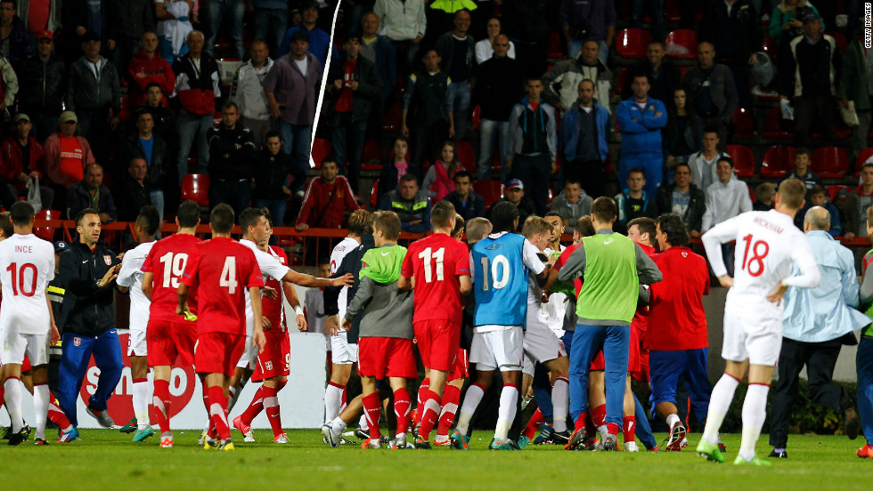 England midfielder Danny Rose claims he was subjected to monkey chants before, during and after the second-leg of their  Under-21 Euro 2013 playoff match against Serbia on Tuesday, and had stones thrown at him by the crowd in Krusevac. Fans also ran on to the pitch and scuffles broke out after a 1-0 win secured England qualification for Euro 2013.