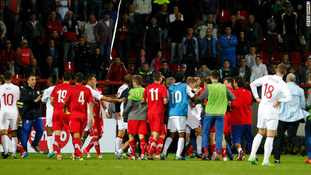 Danny Rose's red card at the end of England's 1-0 victory over Serbia in an under-21 match sparked a brawl.