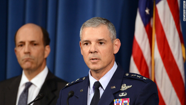 LT. General Salvatore Angelella delivers his remarks at the US embassy in Tokyo on October 19, 2012.