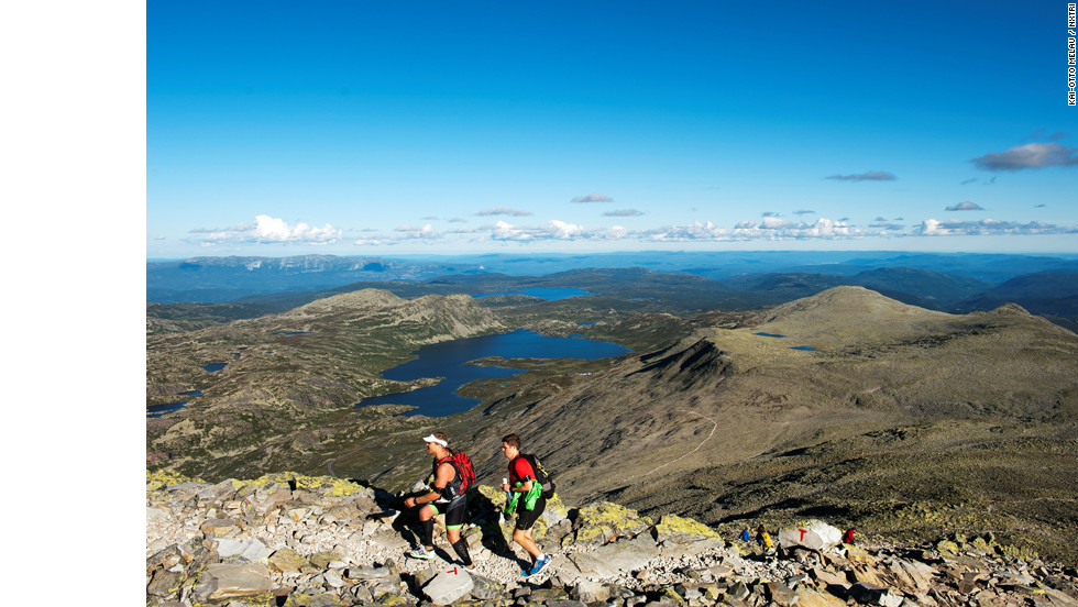 The Norseman in Norway is surely among the toughest of all ironman events with the start seeing athletes jump into a freezing fjord to swim 3.8km. They cycle 180km through mountainous terrain and the 42km marathon run finishes on top of the 1880m Gaustatoppen mountain.