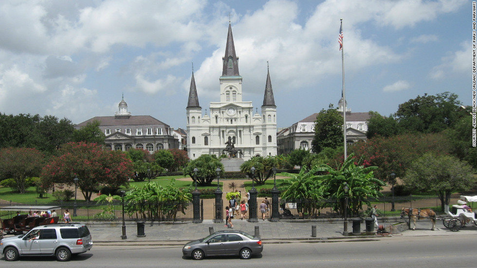 New Orleans' St. Louis Cathedral, on Chartres Street, is one of the biggest sights from Jackson Square.