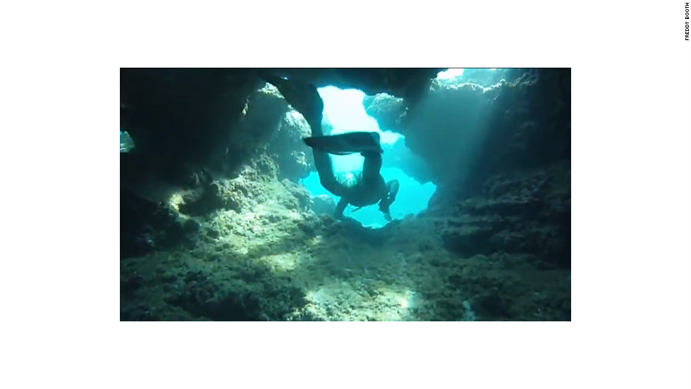 Freddy Booth filmed this dive in Hawaii. The GoPro housing is waterproof up to 197 feet deep.