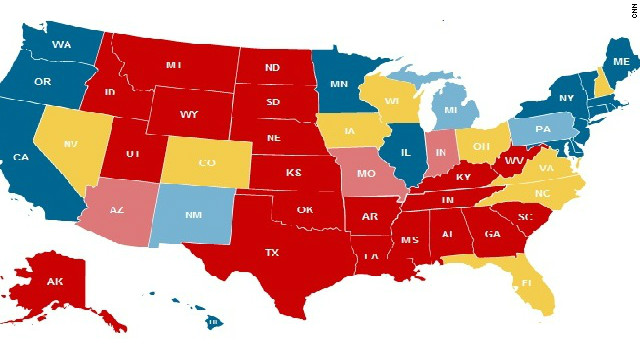 CNN's Electoral Map from October 20 reflects the standing of the candidates by state.