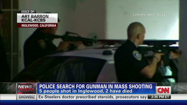 Manhunt for gunman who shot 5, killed 2