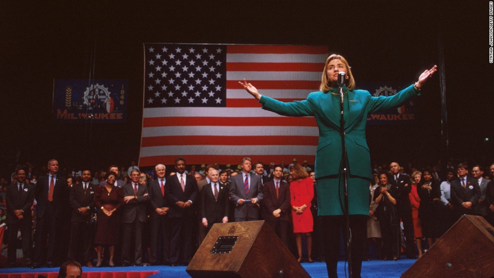 Clinton gestures at a campaign rally November 3, 1992, in Denver. After taking office, President Clinton chose his wife to head a special commission on health care reform, the most significant public policy initiative of his first year in office.