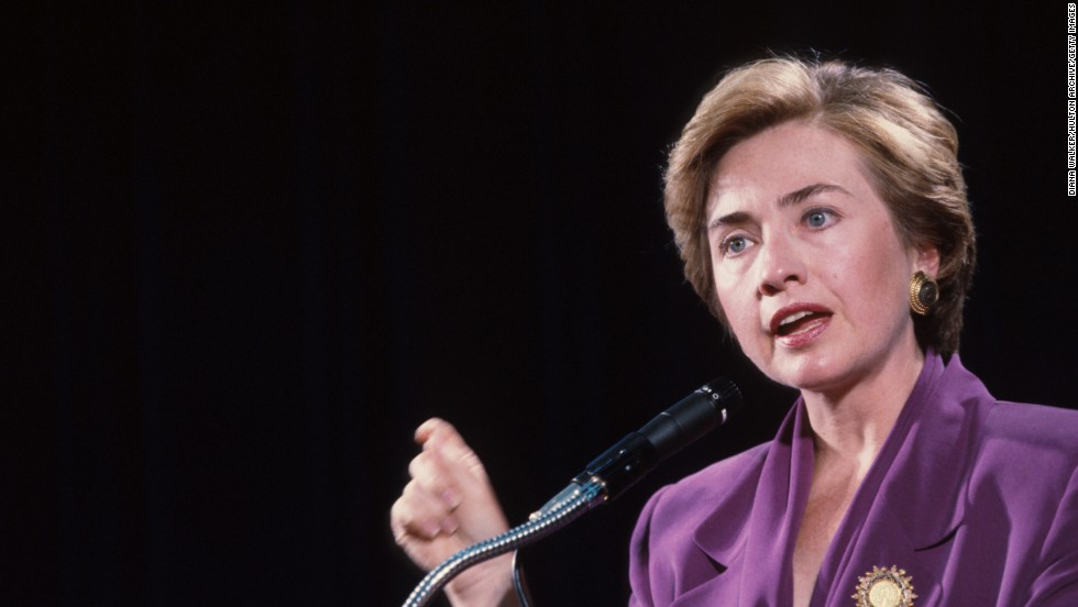 Clinton speaks at George Washington University on September 10, 1993, in Washington during her husband's first term.